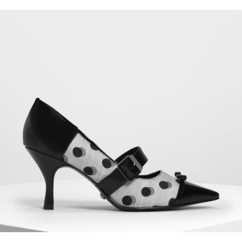 スエード&レザー リボンメリージェーンヒール / Suede & Leather Ribbon Mary Jane Heels (Multi