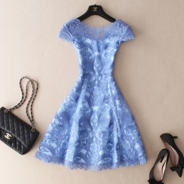夏 春 ドレス パーティー ドレスワンピース お呼ばれ ワンピース パーティードレス 結婚式 レース 透け感  ライトブルー 大きいサイズ 2L