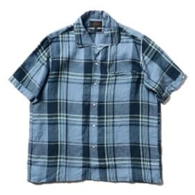 【予約】BEAMS PLUS / ビッグチェック イタリアンカラー ショートスリーブ シャツ メンズ カジュアルシャツ SAX XL