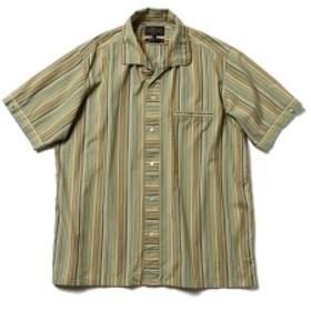 【予約】BEAMS PLUS / ストライプ イタリアンカラー ショートスリーブ シャツ メンズ カジュアルシャツ GREEN L
