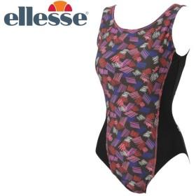 エレッセ パラレログラムプリントワンピース エクストラサイズ フィットネス 水着 レディース ES38230E-CH 返品不可