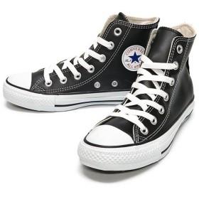 フットプレイス コンバース レザーオールスター ハイ CONVERSE LEATHER ALL STAR HI ユニセックス ブラック 23.5cm 【FOOT PLACE】