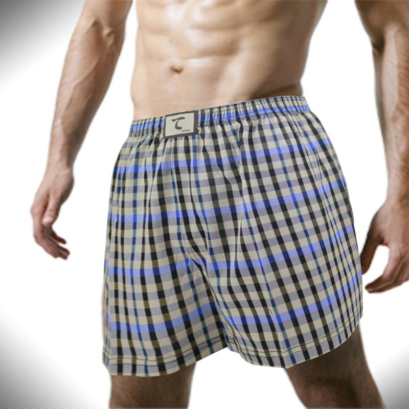 【天皇】舒適悠閒-治世方格平口褲-藍色