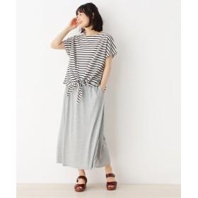 pink adobe サイドリボンTシャツ+ロングスカート セットアイテム