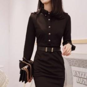 【f0867】レディース ファッション トレンド ワンピース 女子会 入学式 卒業式 長袖 ブラック