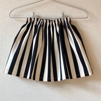 ツイルストライプスカート☆ブラック 80 130サイズ