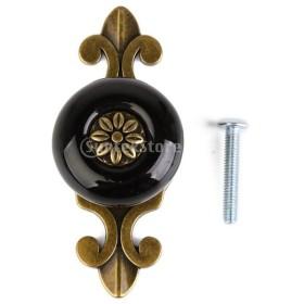 ノーブランド品ハンドル ノブ 取手 引き出しつまみ 手すり  セラミックドア クラシカル レトロ セラミック (ブロンズ+ブラック)