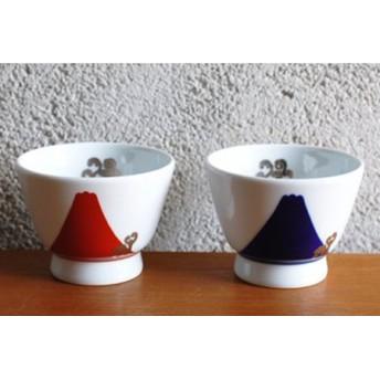 深川製磁 瑠璃・赤富士白金蕨 ペアアルテ・ウァン