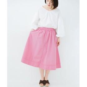 ハコ 花や野菜を使って染めた 楽ちんキレイなフレアースカート レディース ピンク S 【haco!】