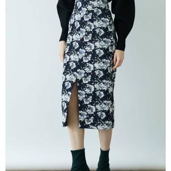 フラワージャカードタイトスカート LAGUNAMOON○031850800101 ネイビー スカート