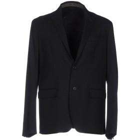 《セール開催中》DONDUP メンズ テーラードジャケット ブラック 52 ポリエステル 64% / レーヨン 34% / ポリウレタン 2%