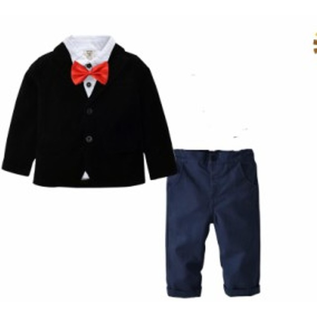 3e8f8722ee313 人気定番 フォーマルスーツ 子供服 ベビー服 赤ちゃん キッズスーツ 男の子3点セット 長袖タキシード