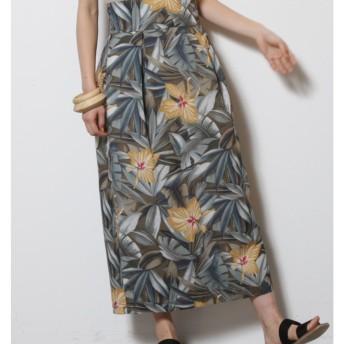 リーフアロハラップスカート LAGUNAMOON○031820800401 カーキ スカート
