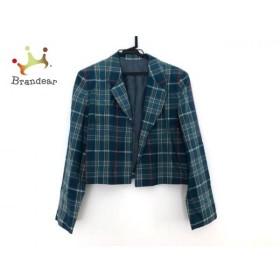 ヨークランド YORKLAND ジャケット サイズ9 M レディース ブルーグリーン×マルチ チェック柄         スペシャル特価 20190806