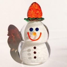 受注制作『苺が大好き雪だるま』ガラス雪だるま/スノーマン/Snow Man/苺/ストロベリー