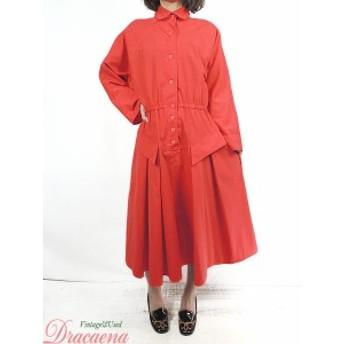 レディース 古着 ワンピース USA製 赤 シャツワンピ 襟付き フレア コットン混 レトロ ドレス ミドル丈 長袖 M位