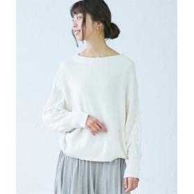 袖透かし編ドルマンニット (ニット・セーター)(レディース),Knitting