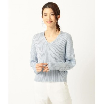 【50%OFF】 ICB(大きいサイズ) Siltex Cotton Vネック ニット レディース スカイブルー系 L 【ICB(LARGE SIZE)】 【セール開催中】