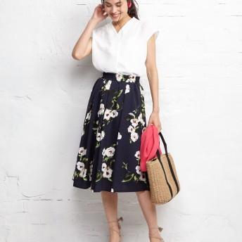 Human 2nd Occasion フラワープリントスカート○821886 ネイビー スカート