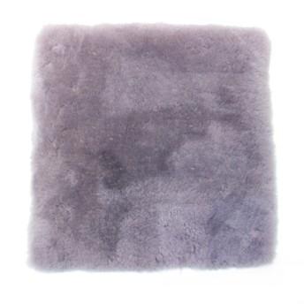 ノーブランド 国産短毛ムートンスクエアシートクッション○NC067 グレー 中材・ベッドウェア