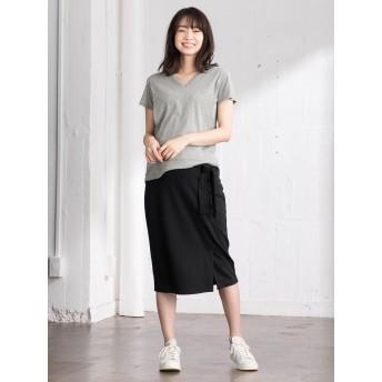 【ANGELIEBE/エンジェリーベ】【産前産後対応】ベルト付ポンチミモレタイトスカート ブラック S~M