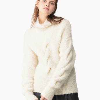 【Theory】Mohair Boucle Mohair Cable Tneck