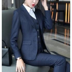 スーツセット レディース パンツセット スカートセット 上下セット ストライプ柄 長袖 フォーマル 面接 OL ビジネス 通勤 大きいサイズ