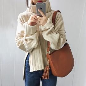 タートルネックオーバーニット 女性用セーター