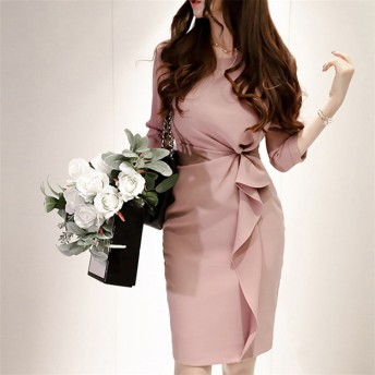 [55555SHOP] オフィスの女性 気質 ドレス OL 通勤 レディースドレス エレガント ワンピース 二次会