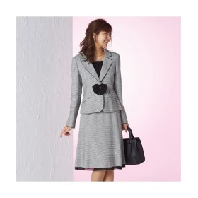 小さいサイズ ラメ入変り織スーツ(ジャケット+スカート)(胸当て。リボンブローチ付)(蓄熱裏地使用) セレモニースーツ(式服・受験・七五三・発表会)