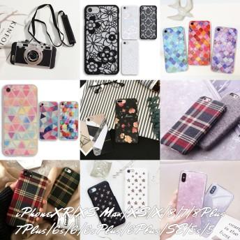 iPhone XR XS XS Max 8 7 6s 6 SE 5s 5 Plus アイフォン ケース スマホケース カメラ型 花柄 ダマスク モロッコ チェック シェル キラキラ