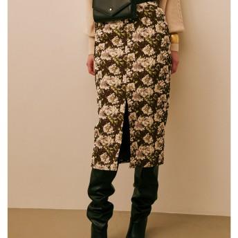 フラワージャカードタイトスカート LAGUNAMOON○031850800101 ブラウン スカート