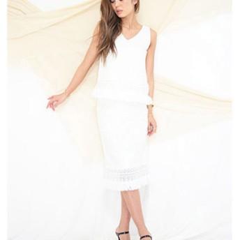 MIELI INVARIANT フリンジクロシェSK○500077 Ivory スカート
