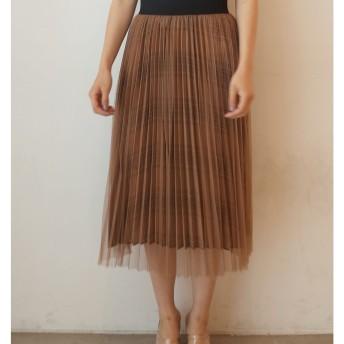 プリーツチュールレイヤードスカート LAGUNAMOON○031830801201 ブラウン スカート