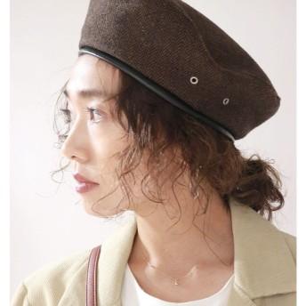 チェックベレー帽 Ungrid○111851008201 ブラウン ファッション雑貨