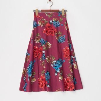 Human 2nd Occasion リネンレーヨン フラワープリントスカート○821855 ピンク スカート