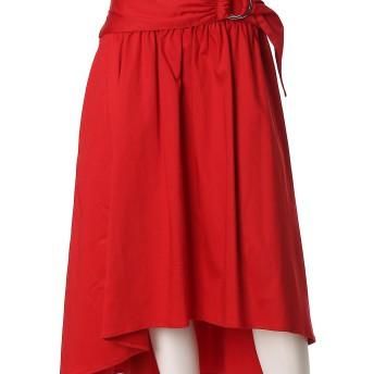 ef-de L Size 《大きいサイズ》ベルトバックロングフレアスカート efde L Size○5573152306 レッド スカート