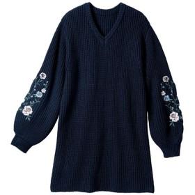 【レディース大きいサイズ】 袖刺しゅうニットチュニック - セシール ■カラー:ネイビー ■サイズ:5L,L,3L,LL