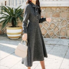 トレンド 売れ筋 冬物 ロングワンピース ミモレ丈 きれいめ フェミニン キュート 上品 襟リボン フレアスカート ニットワンピ