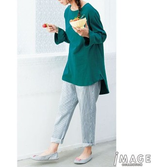 50%OFF【レディース】 フレア袖のチュニック丈パジャマ ■カラー:グリーン ■サイズ:LL,3L
