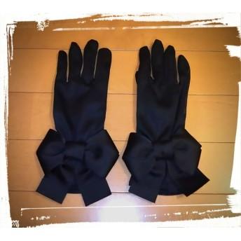 再販 UV 日焼け防止 夏用 手袋 黒ふっくらりぼん