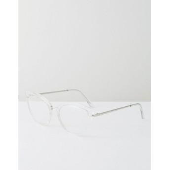 ASOS レディース アクセサリー 送料無料 Clear Geeky Clear Lens Clear Frame Cat Eye Glasses