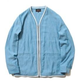 BEAMS PLUS / スラブヤーン ジップ シャツ カーディガン メンズ カジュアルシャツ BLUE XL