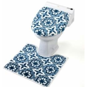 トイレ2点セット洗浄用(グロリア) トイレマット セット おしゃれ かわいい トイレカバー トイレ蓋カバー 洗浄暖房