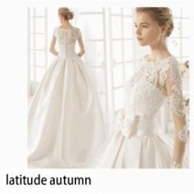 bf2879ac1a23c 高級 ウェディングドレス 結婚式 二次会ドレス 二次会 マーメイド レース トレーン Aラインドレス 超豪華