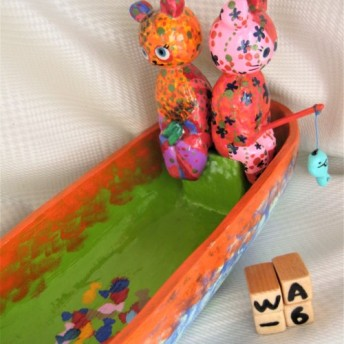 【送料無料】【オリジナル・一点物】【値下げ】ウッド 木の小物入れ ねこ&パンダ