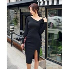 ドレス ワンピース スリットスカート フェミニン ad-0005