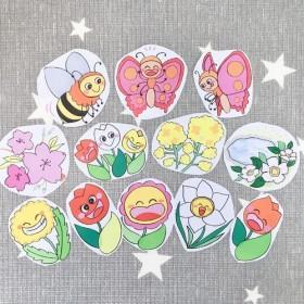 《カラーコピー素材》春のおすすめ童謡セットペープサートパネルシアター保育教材12枚セット知育玩具春の歌チューリップ