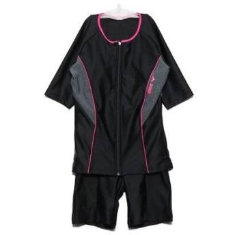 アリーナ arena レディース 水泳 フィットネス水着 大きめカラースナップ付き袖付きセパレーツ(差し込みフィットパッド) LAR-9242WE【返