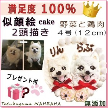 犬用 世界にひとつの 似顔絵 ケーキ 4号 サイズ ( 野菜& ささみ 生地 ) 2頭描き 誕生日 無添加 国産 記念日 お祝い プレゼント 人気